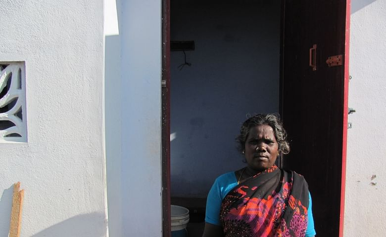 Saraswathi Balasubramaniyam constructed this toilet with the help of a microloan