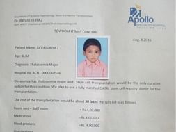 Child suffering from Thalassemia