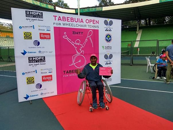 Support wheelchair tennis player, Shiva Prasad, break records