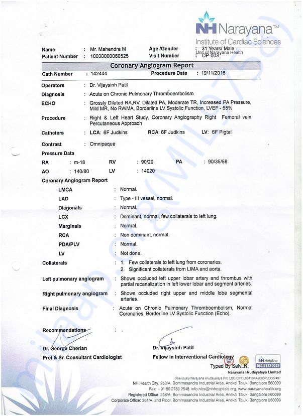 Coronary Angiogram Report