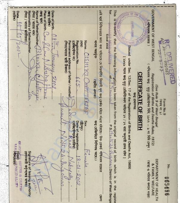 Rini's Birth Certificate