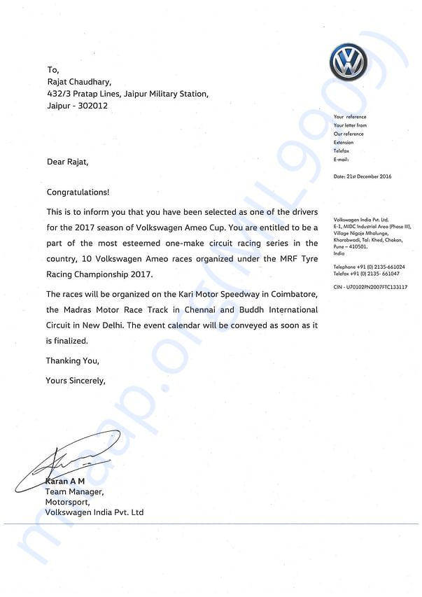 Official selection letter from Volkswagen Motorsports India