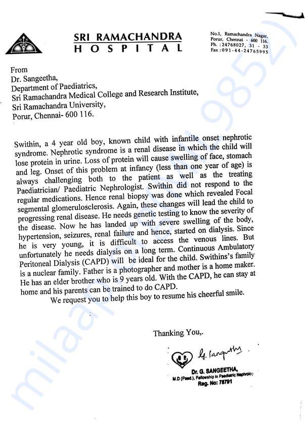 Pediatric Nephrologist's note