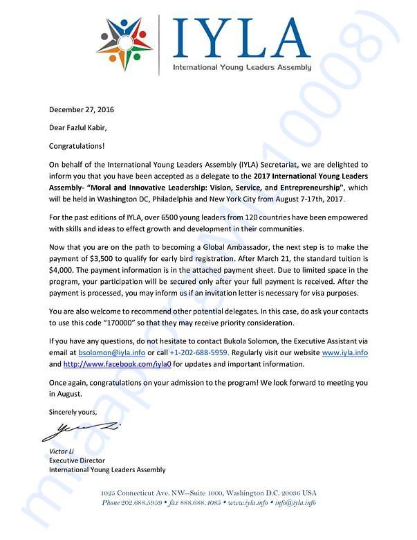 IYLA(USA) 2017 acceptance letter on my project