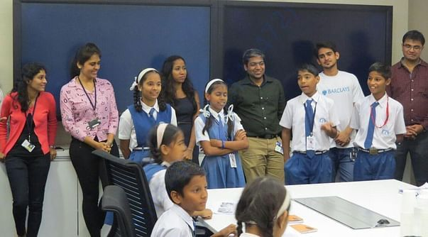 Kids explaining about how education loan works at Barclays-Pune