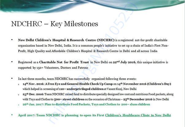NDCHRC - Key Milestones