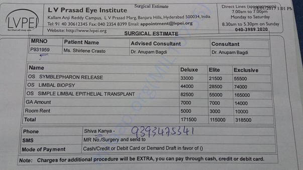 Surgical estimate given by the hospital