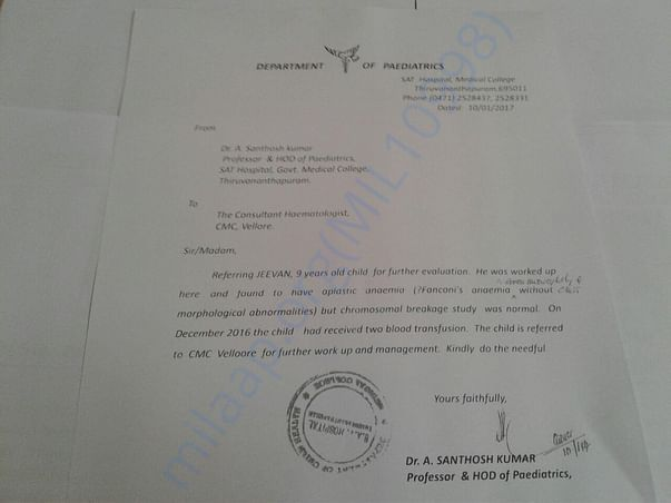 Doctor's letter stating the disease and referring him to Vellore