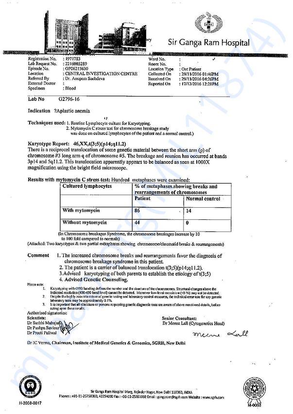 Ravya Chromosomal Breakage Report