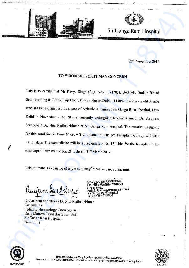 Ravya Estimate Letter From Hospital