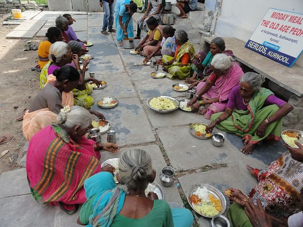 Feed the hungry poor old aged persons in India