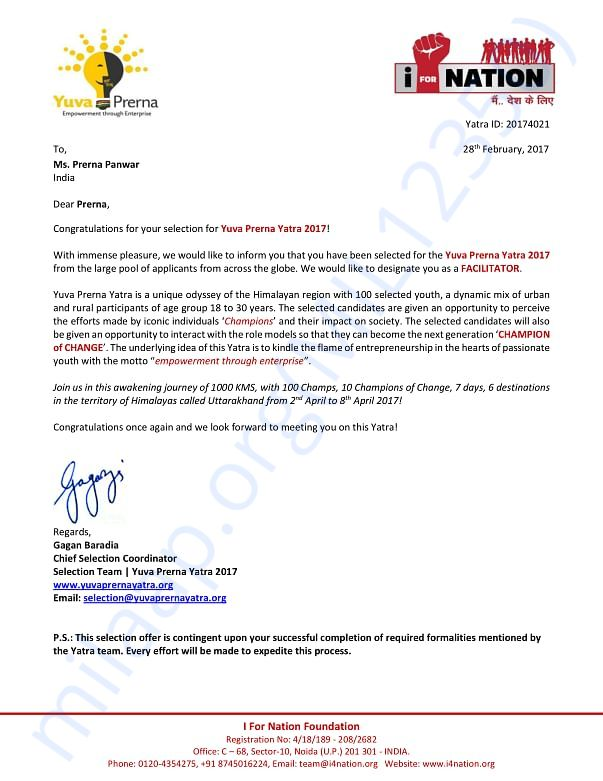 Selection letter for Yuva Prerna Yatra