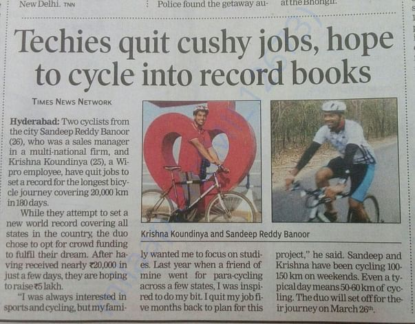 Times of India article