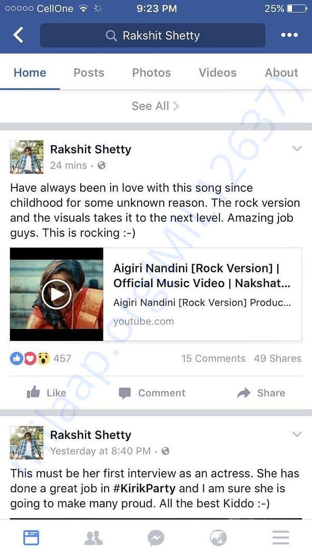 Appreciation by Sandalwood Actor / Director Rakshith Shetty Sir...