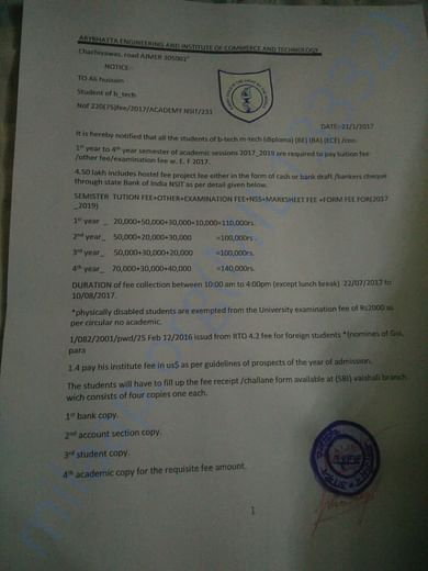 This Is my collage notice of my b-tech fee
