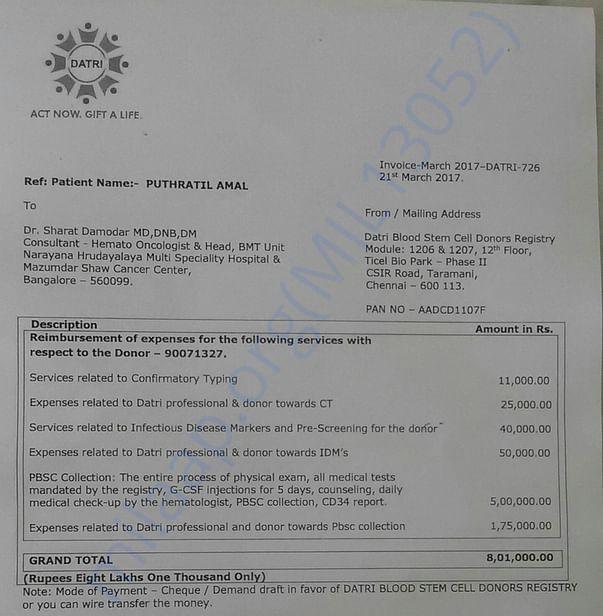 Bone marrow transplant invoice