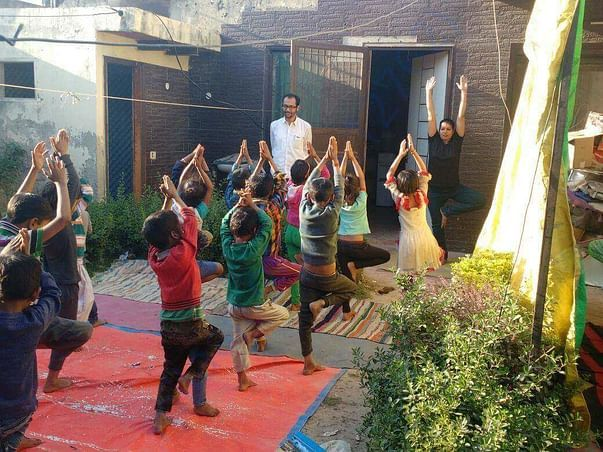 Yoga sessions with the children