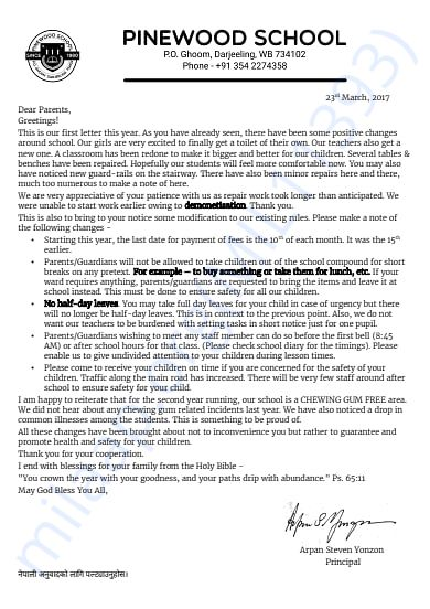 Letter to parents March 2017