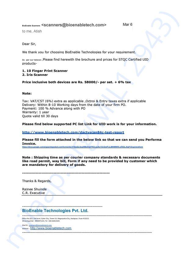 invoice of finger print scanner and Iris scanner