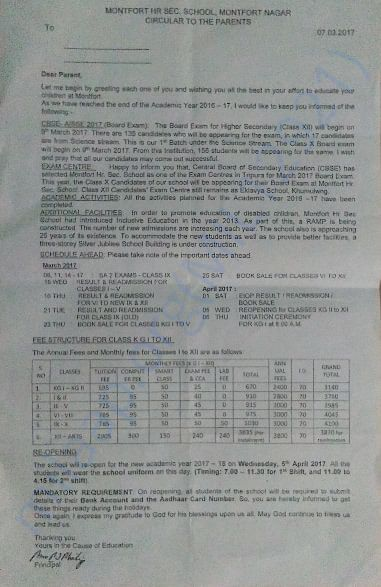 Montfort School fees details