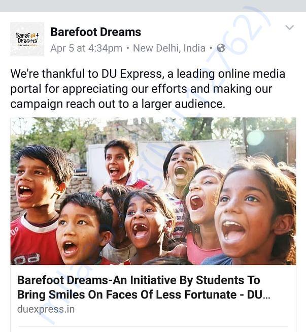 Campaign highlights in delhi based online media portal DU Express.