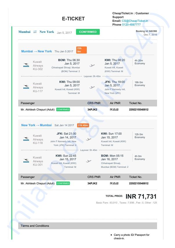 TO AND FRO FLIGHT TICKET (MUMBAI TO NEW YORK BY KUWAIT AIRWAYS)