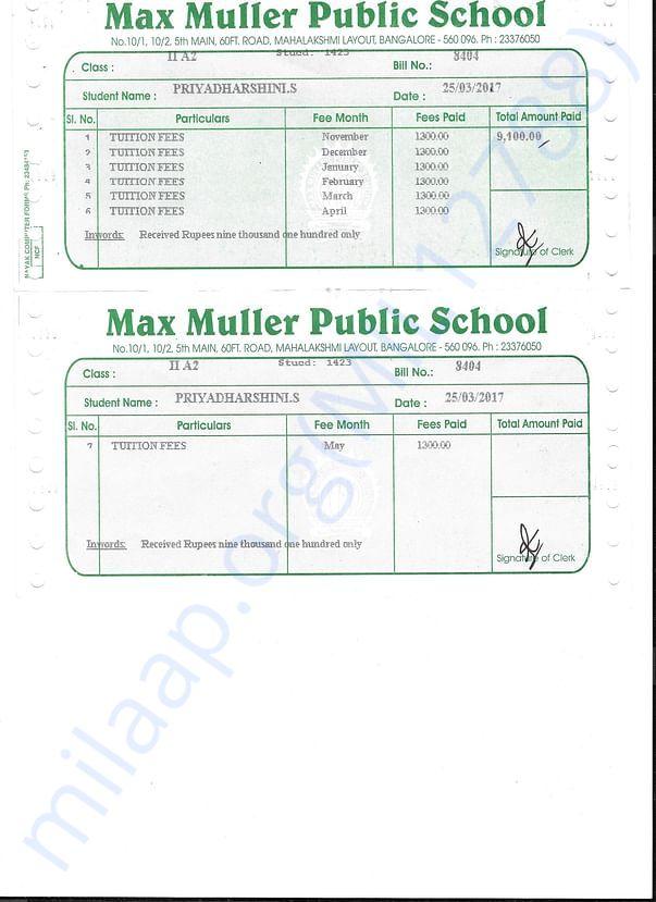 School Payment for Priyadarshini