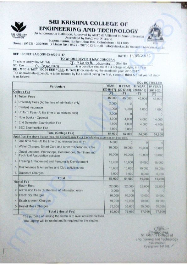 Fee structure, Mr. J Bharath Kumar