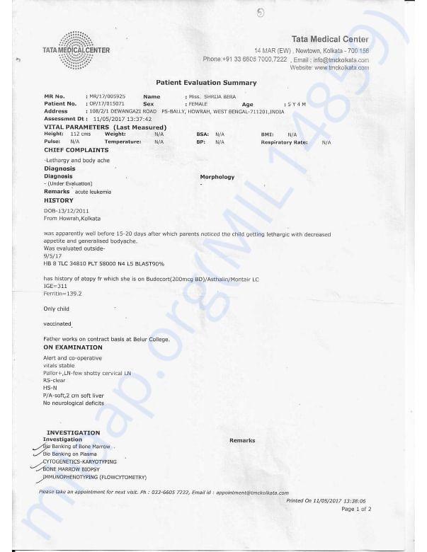 Patient Evaluation SummeryTATA MEDICAL CENTER 1
