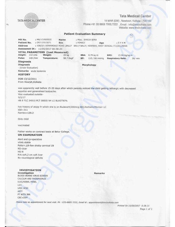 Patient Evaluation SummeryTATA MEDICAL CENTER 1b