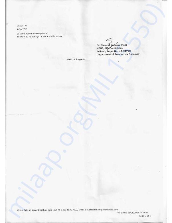 Patient Evaluation SummeryTATA MEDICAL CENTER