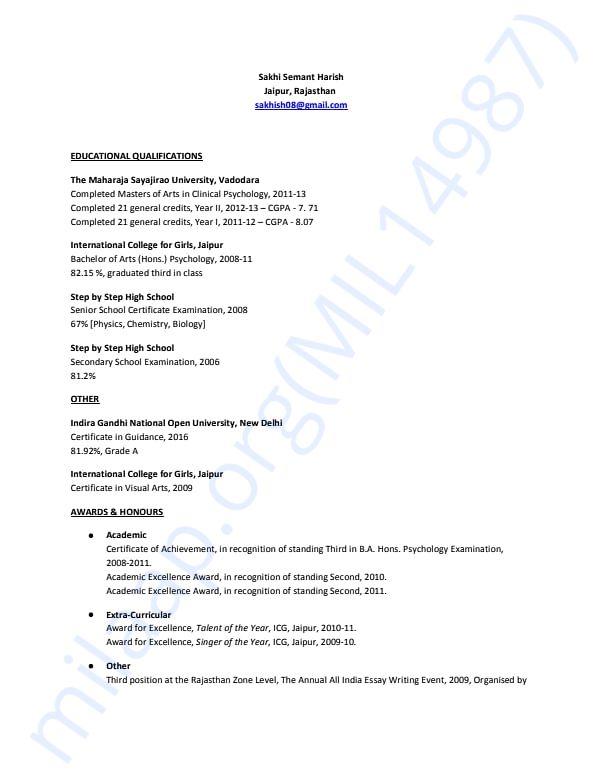 Resume - Sakhi Semant Harish