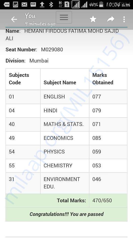 Screensgot of the online result