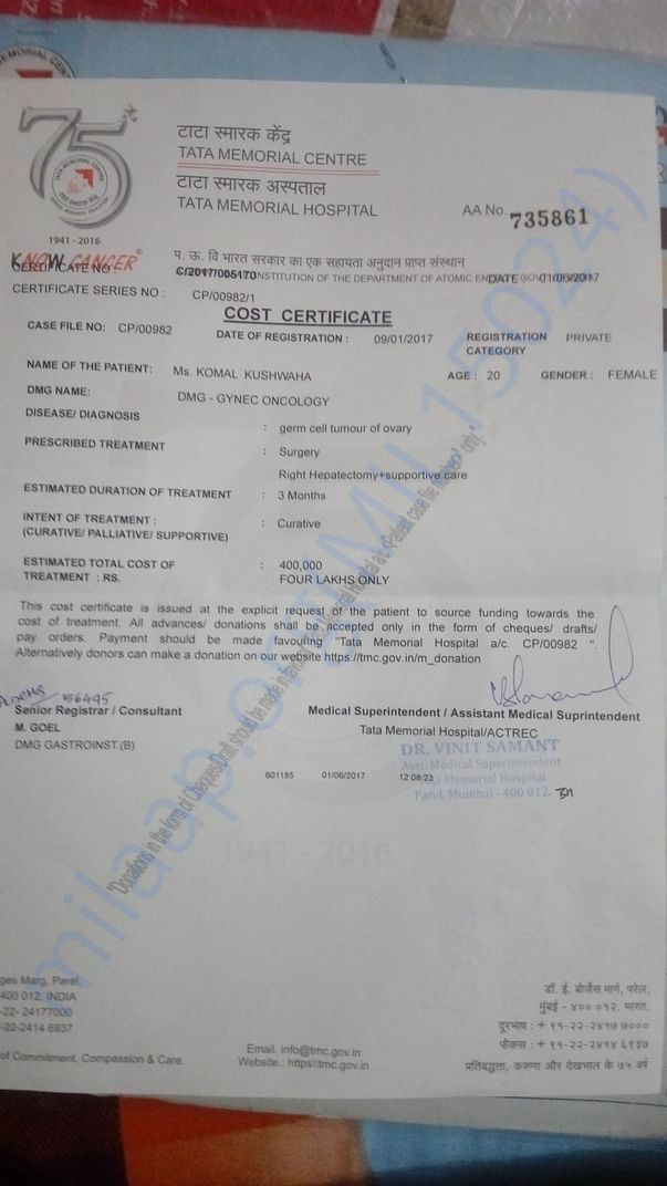 Cost certificate provided by doctor