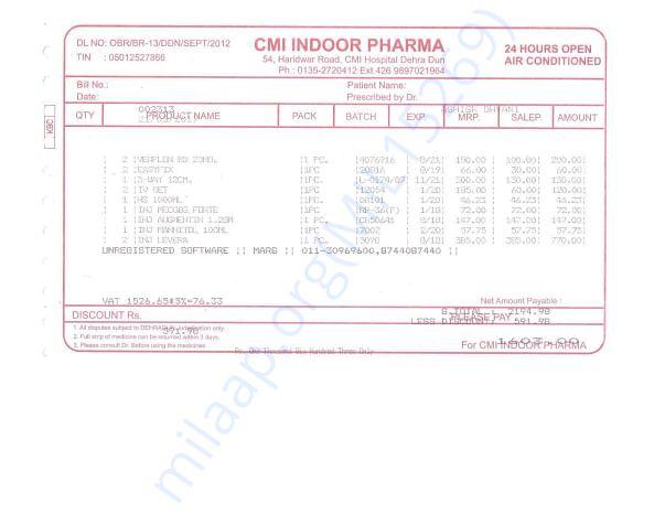 Ashish Medicine Bills