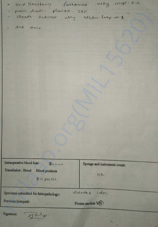 Medical Record - 24 - 5th Hospital Admission - Operation Note - 2