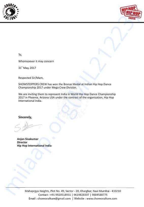 Letter Of Invitation from HIP HOP INTERNATIONAL