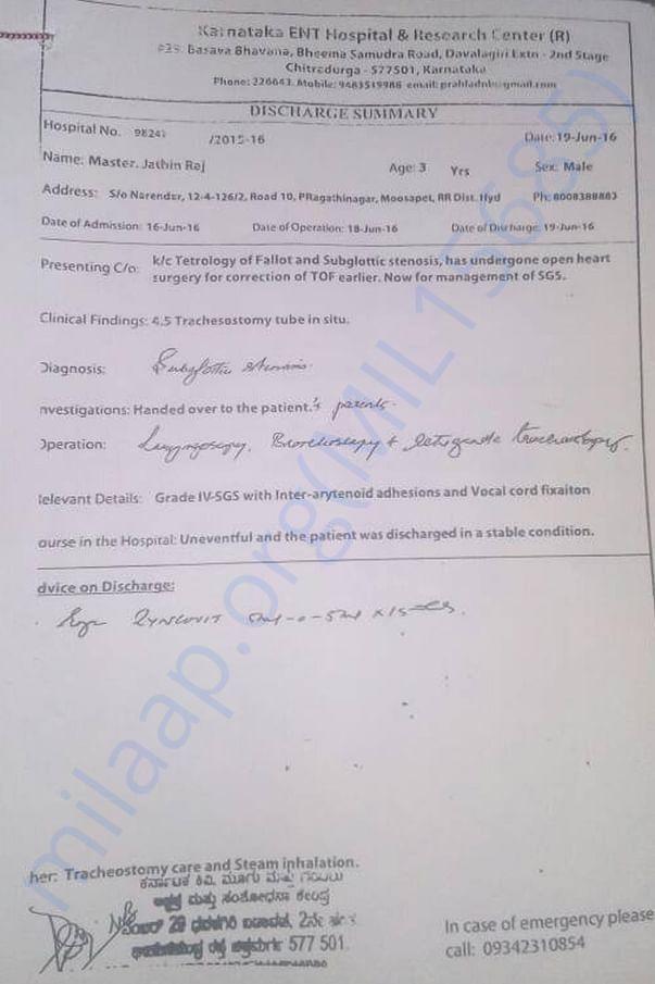 Chitradurga, Karnatak ENT Dr. Prahallada  written a report for surgery