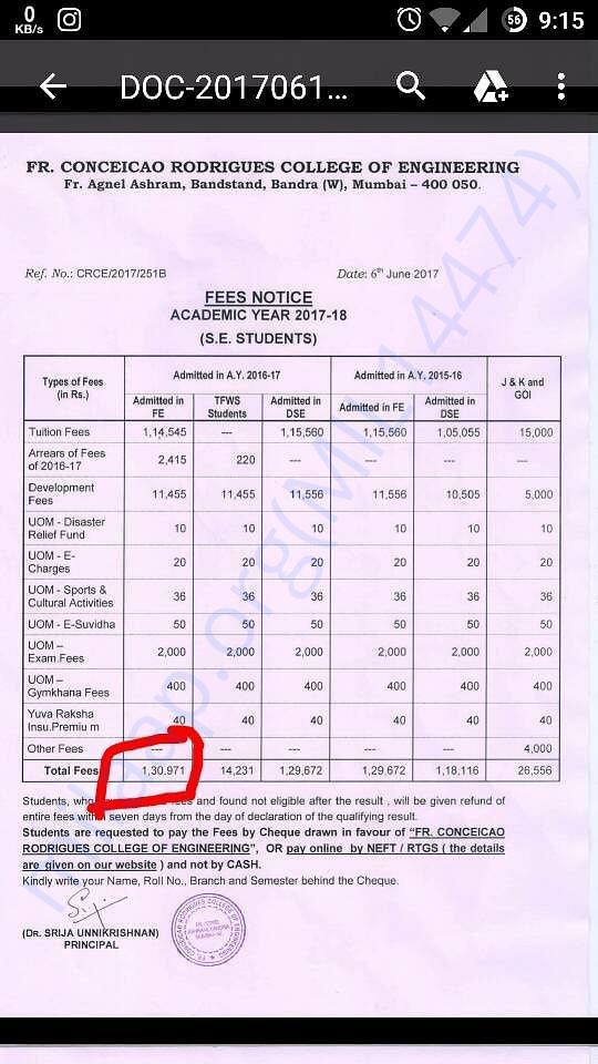 Sultan has received the college fee structure for 2017-18 as attached.