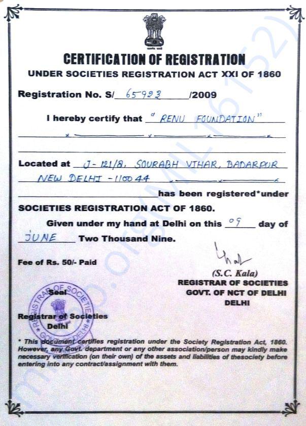 Registration Certificate of Organisation