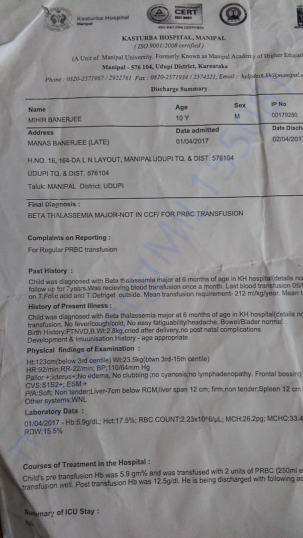 Report of regular blood transfusions