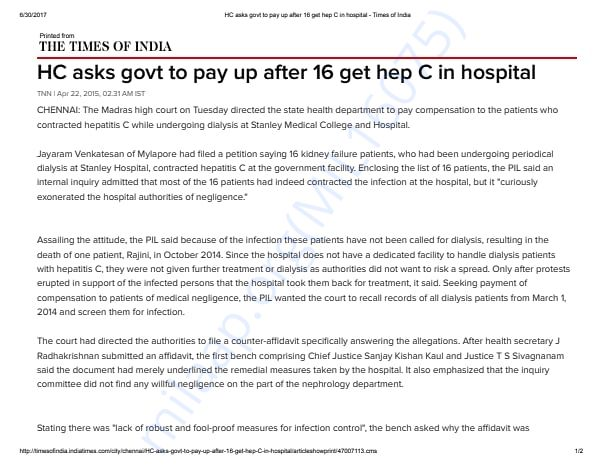 High Court orders compensation on case filed by Jayaram Venkatesan