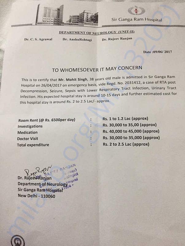 New Estimation Letter From Gangaram Hospital