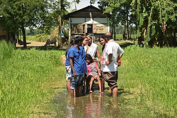Assam flood relief operation in 2016 at Majuli