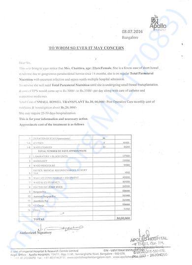 apollo hospital doctors Estimate for treatment