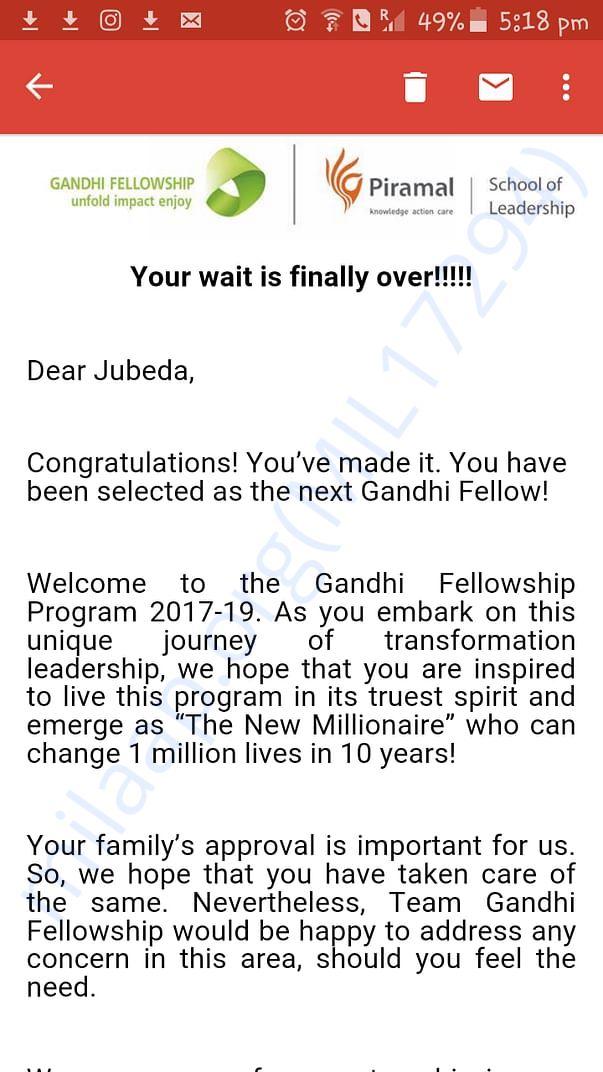 Gandhi fellowship acceptance email