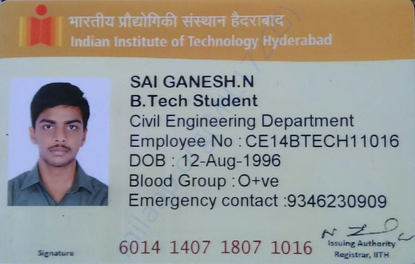 This is my college ID card