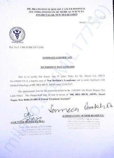 Estimate letter of master karan