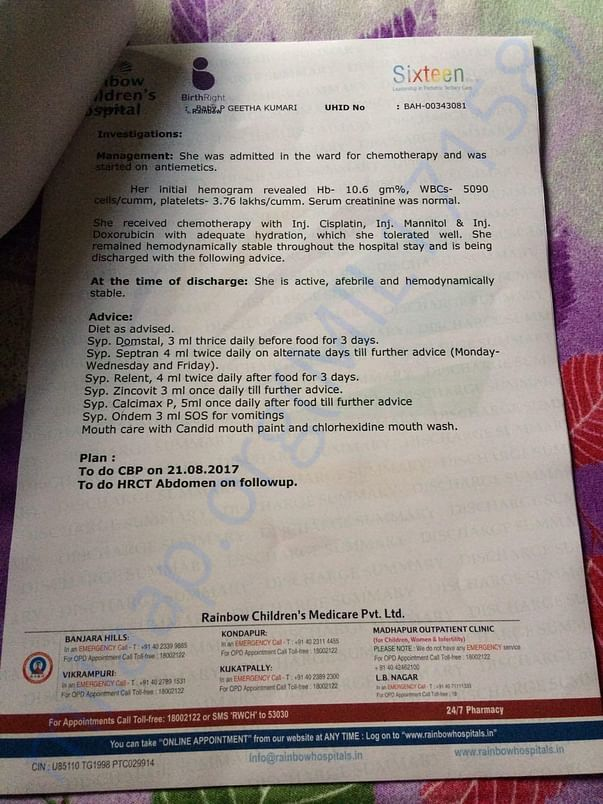 Lattest document after chemotheraphy