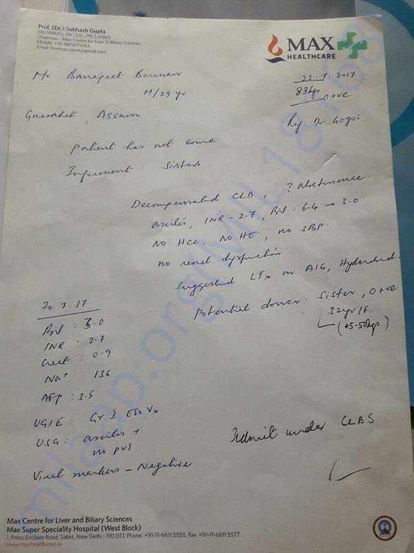 Prescription of the patient.